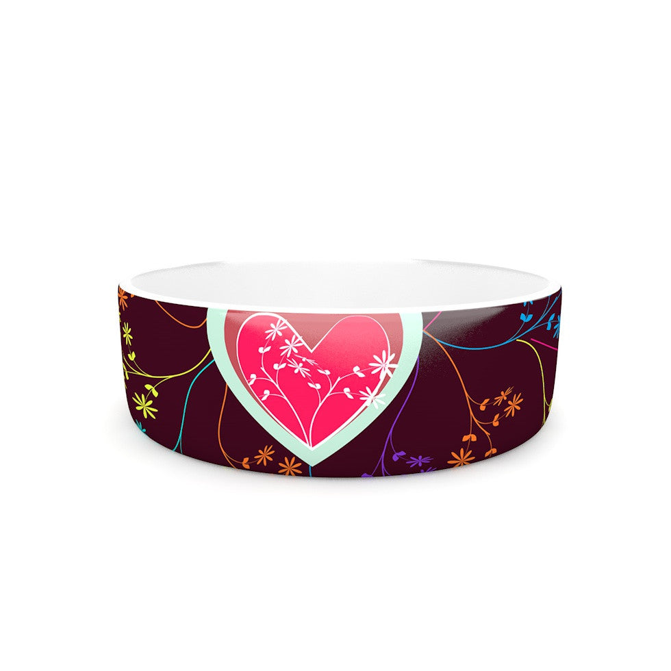 "Famenxt ""Love Heart"" Multicolor Heart Pet Bowl - KESS InHouse"