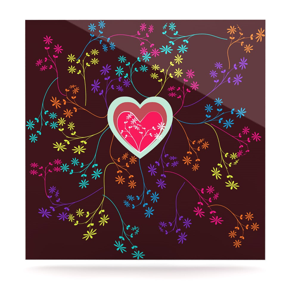 "Famenxt ""Love Heart"" Multicolor Heart Luxe Square Panel - KESS InHouse  - 1"