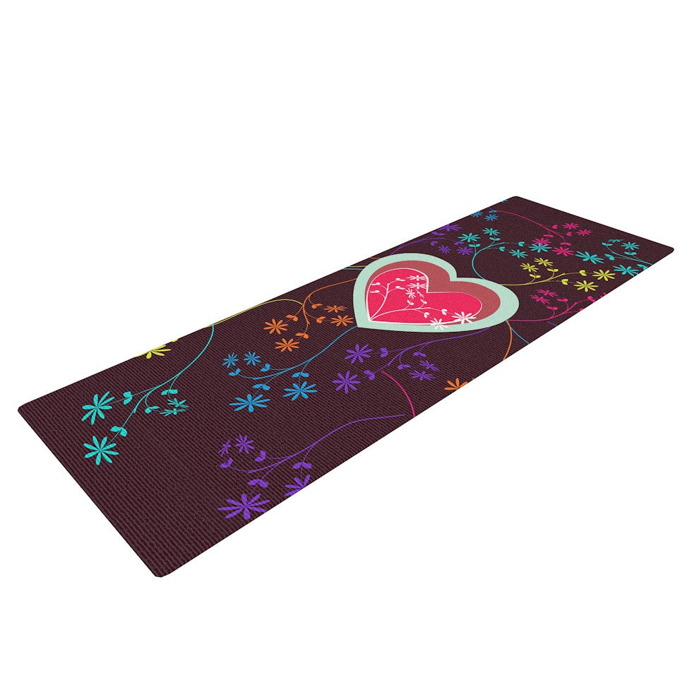"Famenxt ""Love Heart"" Multicolor Heart Yoga Mat - KESS InHouse  - 1"