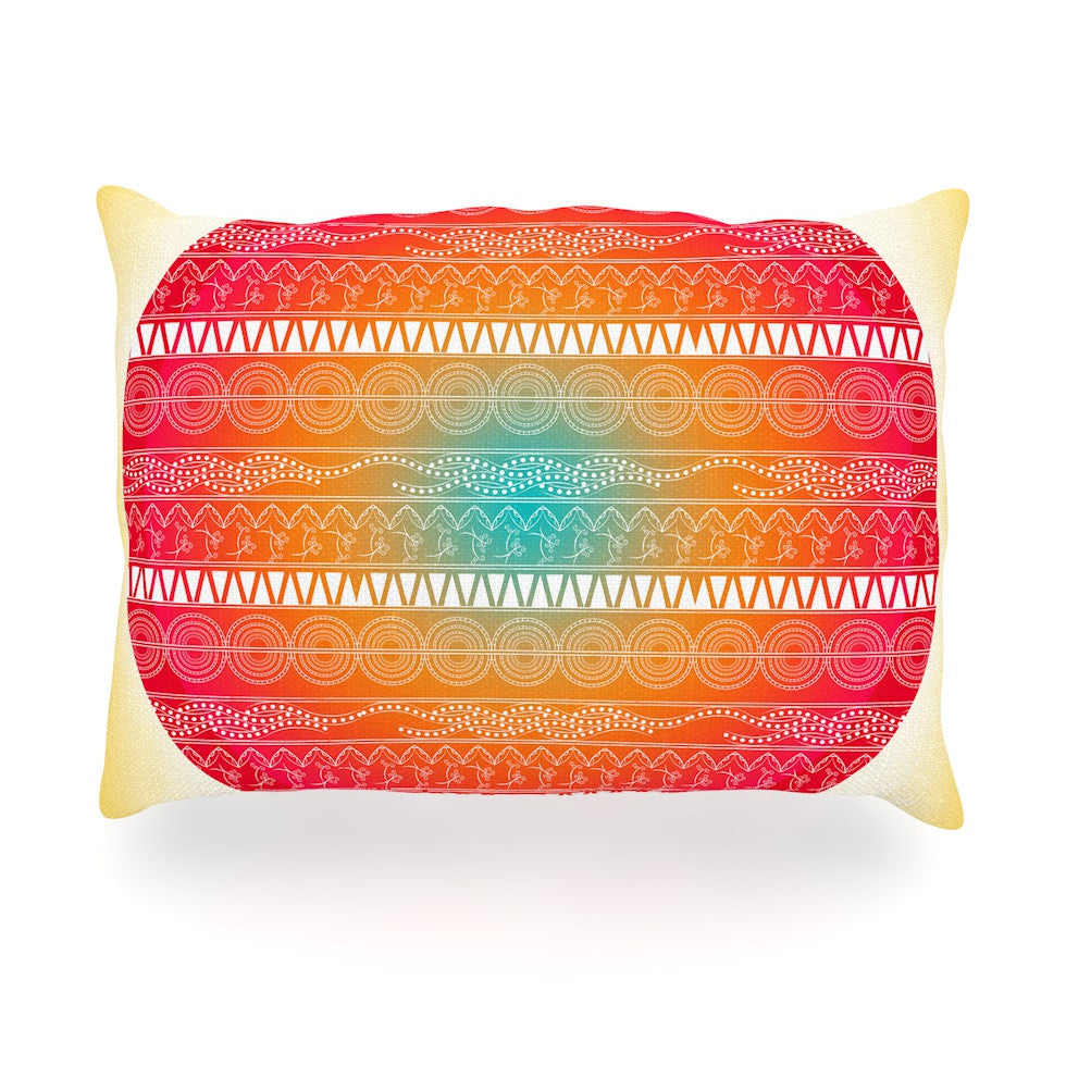 "Famenxt ""Romantic Pattern"" Red Abstract Oblong Pillow - KESS InHouse"