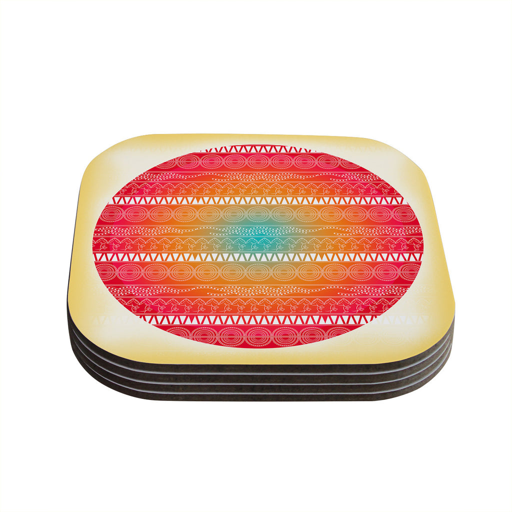 "Famenxt ""Romantic Pattern"" Red Abstract Coasters (Set of 4)"