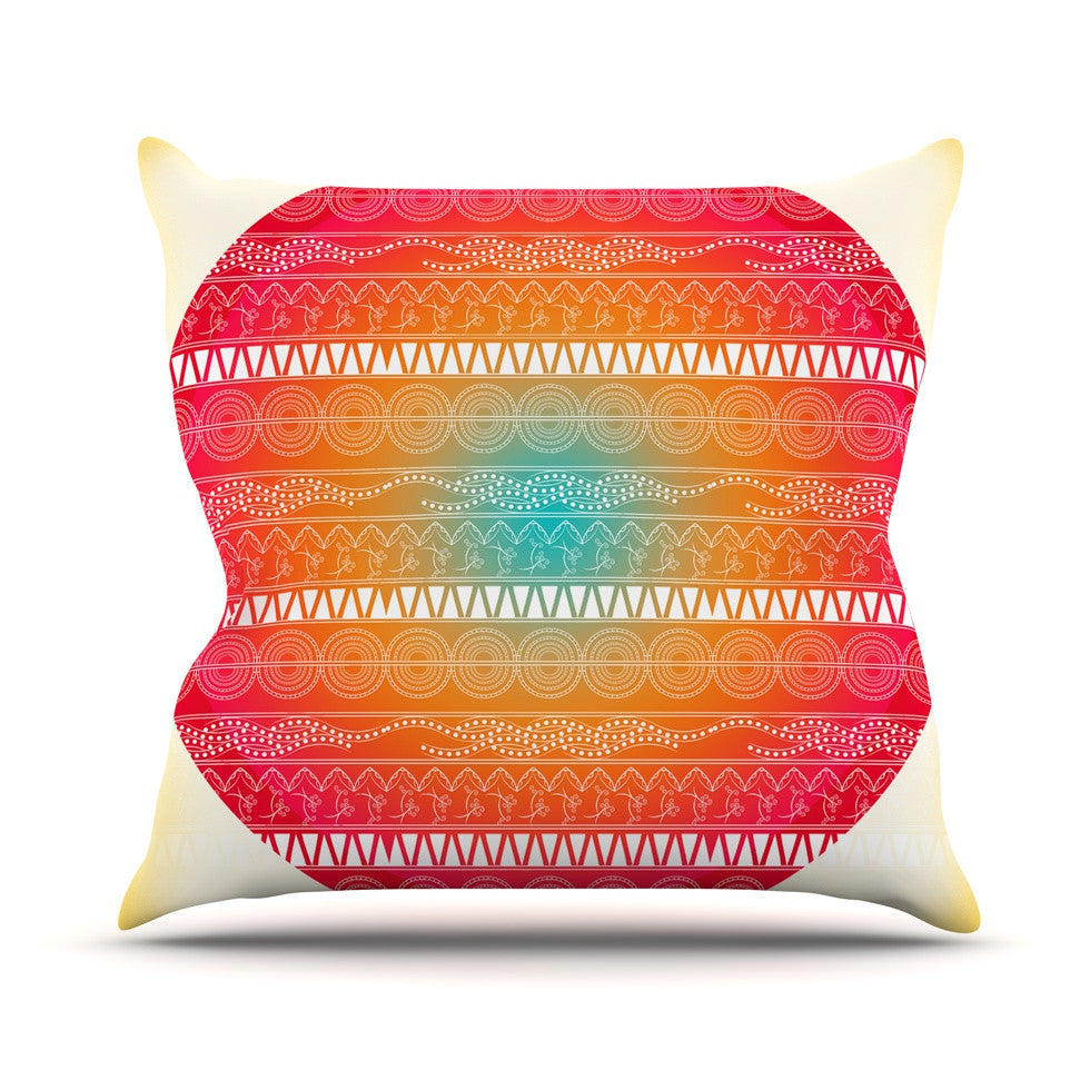 "Famenxt ""Romantic Pattern"" Red Abstract Throw Pillow - KESS InHouse  - 1"