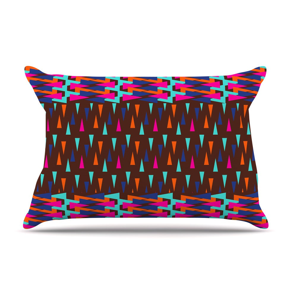 "Famenxt ""Abstract Triangle Pattern"" Pink Aqua Pillow Sham - KESS InHouse"