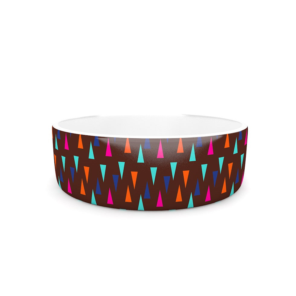 "Famenxt ""Abstract Triangle Pattern"" Pink Aqua Pet Bowl - KESS InHouse"