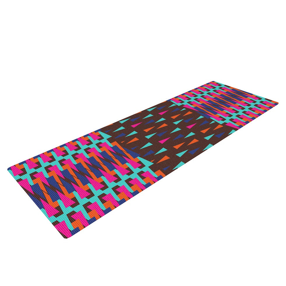 "Famenxt ""Abstract Triangle Pattern"" Pink Aqua Yoga Mat - KESS InHouse  - 1"