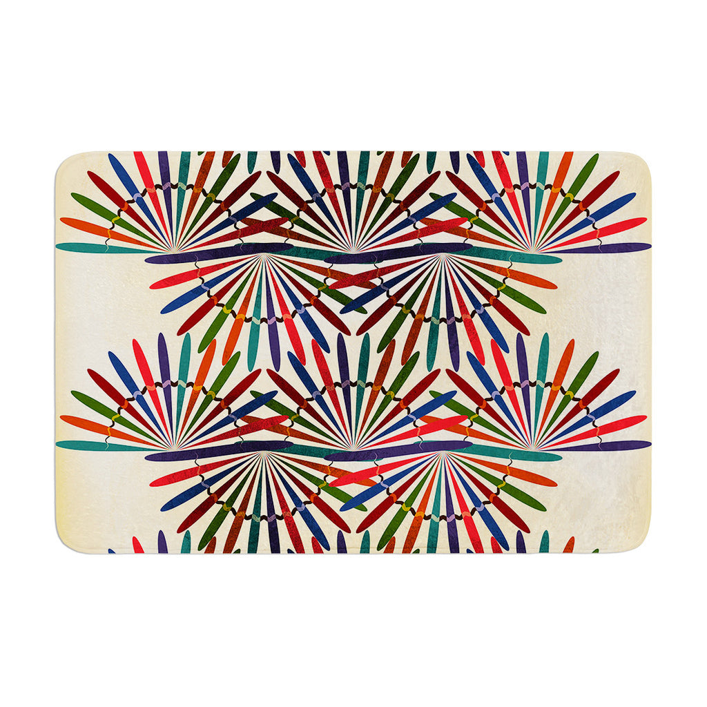 "Famenxt ""Colorful Abstract Pattern"" Yellow Multicolor Memory Foam Bath Mat - KESS InHouse"