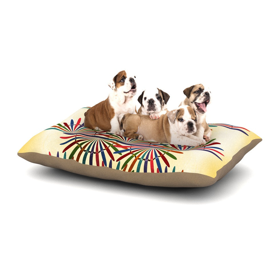 "Famenxt ""Colorful Abstract Pattern"" Yellow Multicolor Dog Bed - KESS InHouse  - 1"
