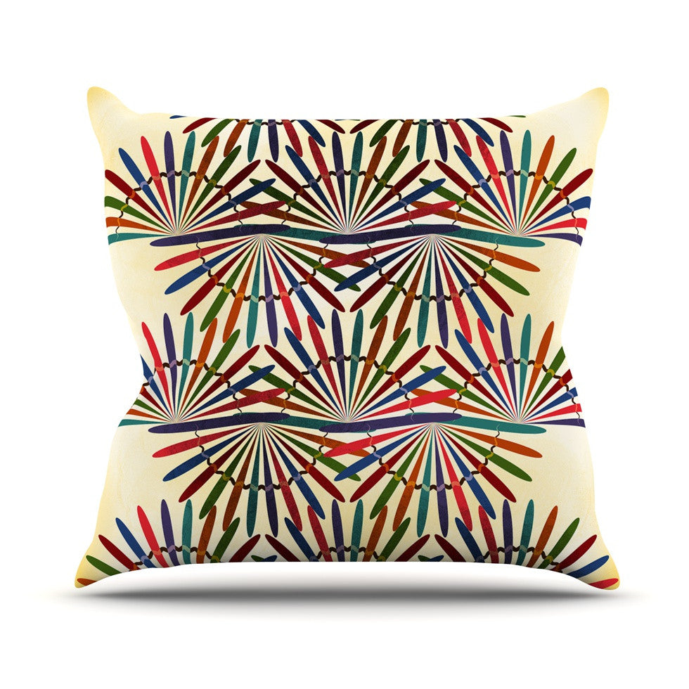 "Famenxt ""Colorful Abstract Pattern"" Yellow Multicolor Outdoor Throw Pillow - KESS InHouse  - 1"