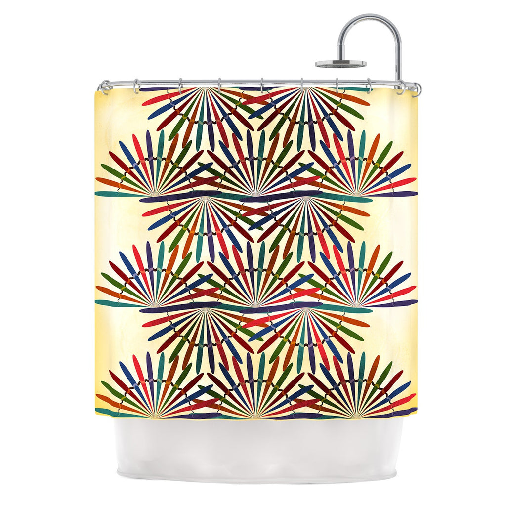 "Famenxt ""Colorful Abstract Pattern"" Yellow Multicolor Shower Curtain - KESS InHouse"