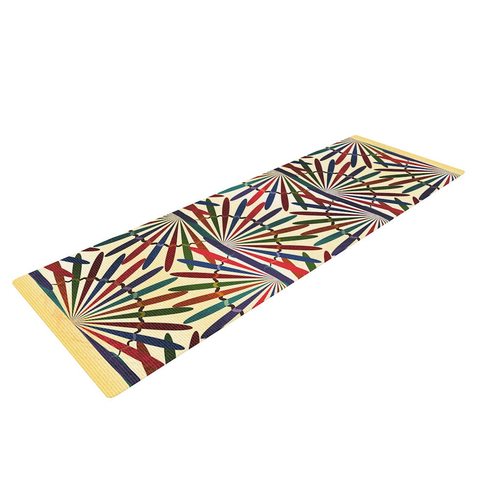 "Famenxt ""Colorful Abstract Pattern"" Yellow Multicolor Yoga Mat - KESS InHouse  - 1"