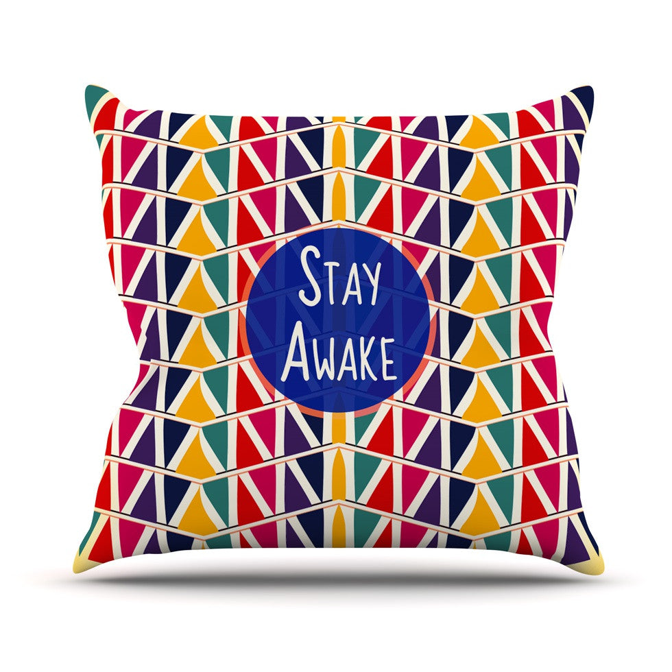 "Famenxt ""Stay Awake"" Yellow Multicolor Outdoor Throw Pillow - KESS InHouse  - 1"