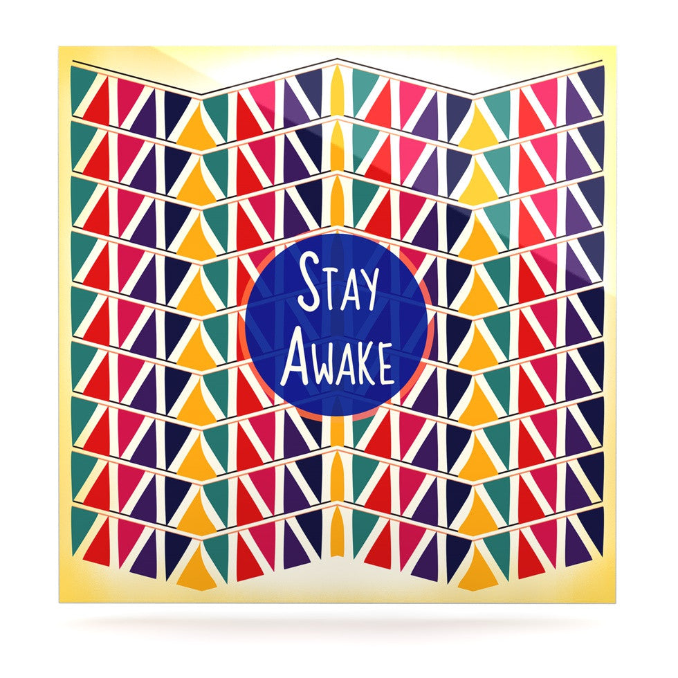 "Famenxt ""Stay Awake"" Yellow Multicolor Luxe Square Panel - KESS InHouse  - 1"
