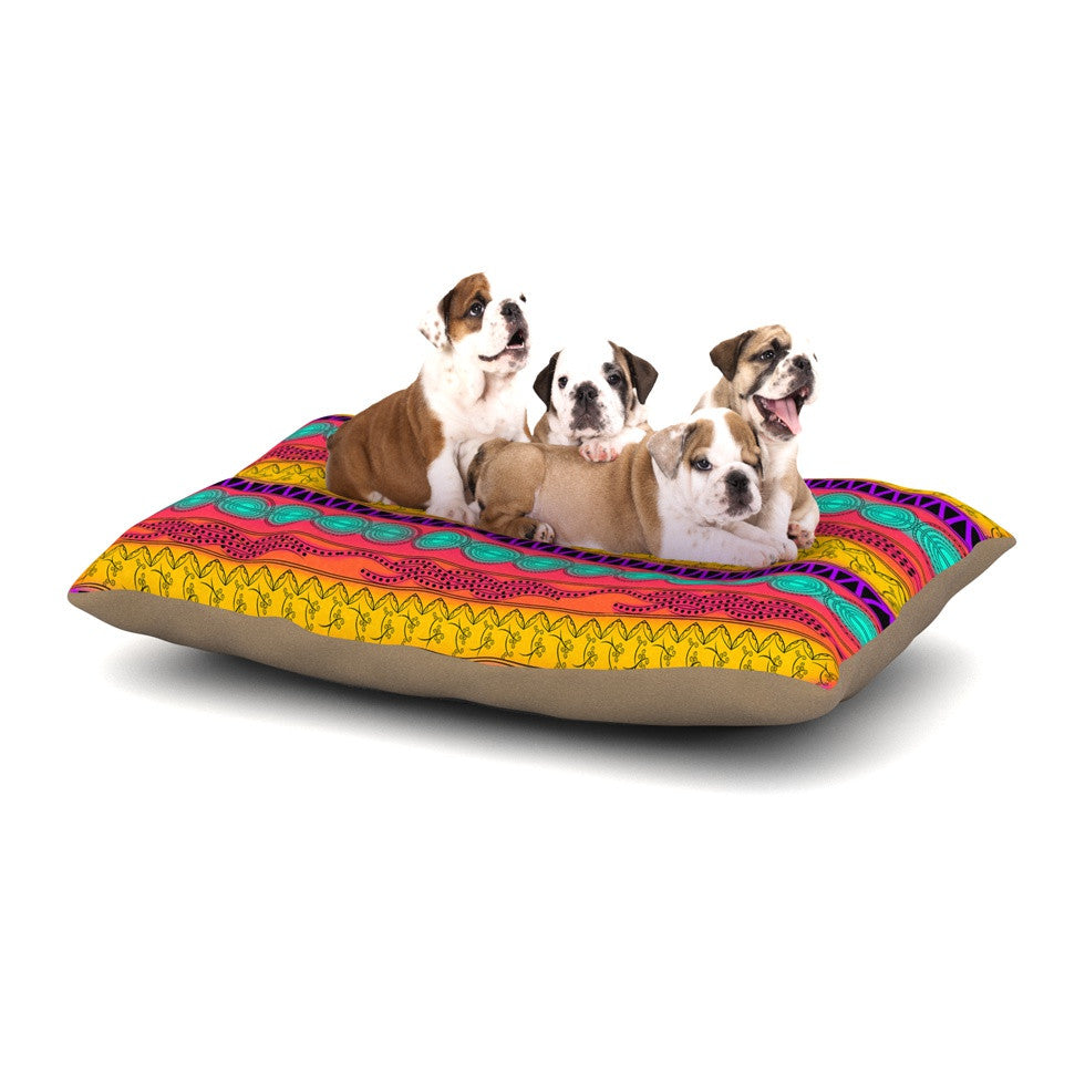 "Famenxt ""Pattern Watercolor Colorful"" Multicolor Pattern Dog Bed - KESS InHouse  - 1"