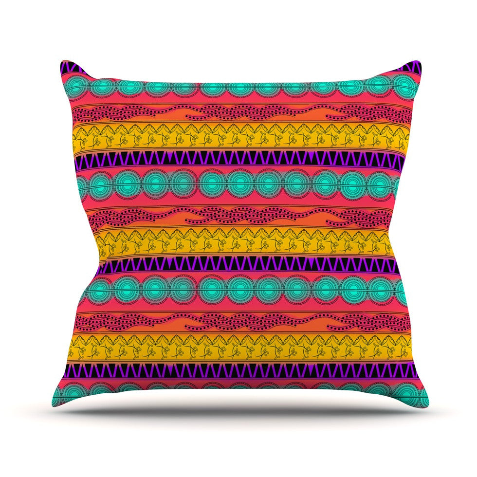 "Famenxt ""Pattern Watercolor Colorful"" Multicolor Pattern Outdoor Throw Pillow - KESS InHouse  - 1"