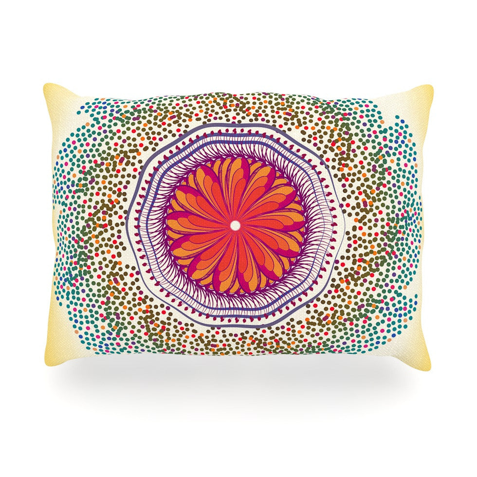"Famenxt ""Confetti Dots Mandala"" Multicolor Abstract Oblong Pillow - KESS InHouse"