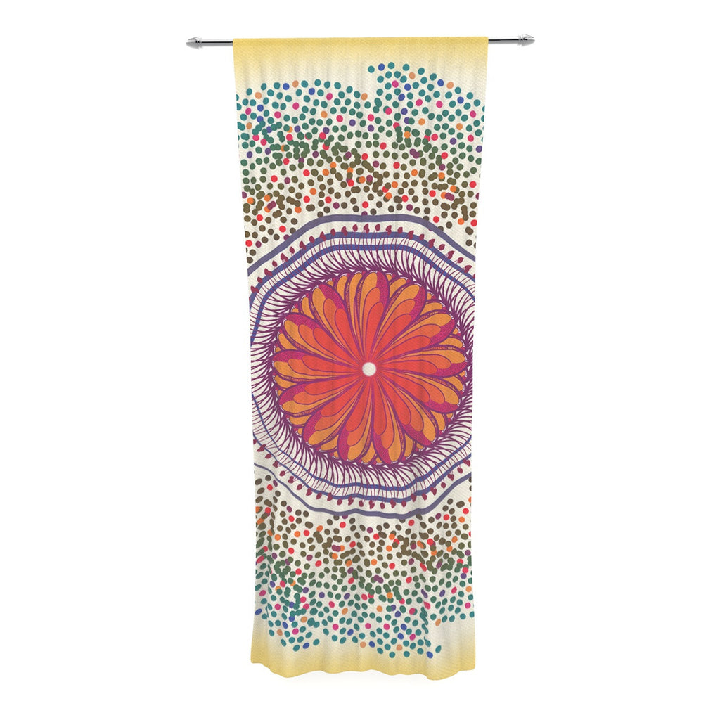 "Famenxt ""Confetti Dots Mandala"" Multicolor Abstract Decorative Sheer Curtain - KESS InHouse  - 1"