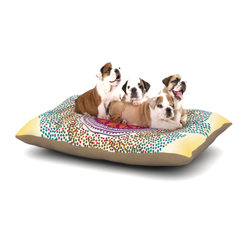 "Famenxt ""Confetti Dots Mandala"" Multicolor Abstract Dog Bed - KESS InHouse  - 1"