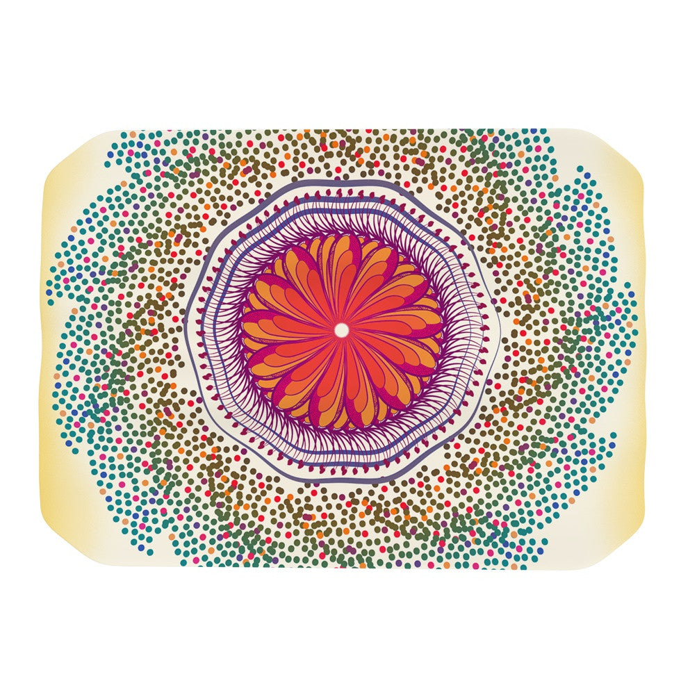 "Famenxt ""Confetti Dots Mandala"" Multicolor Abstract Place Mat - KESS InHouse"