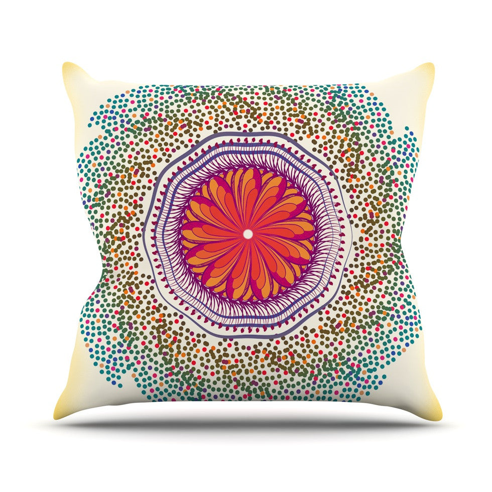 "Famenxt ""Confetti Dots Mandala"" Multicolor Abstract Outdoor Throw Pillow - KESS InHouse  - 1"