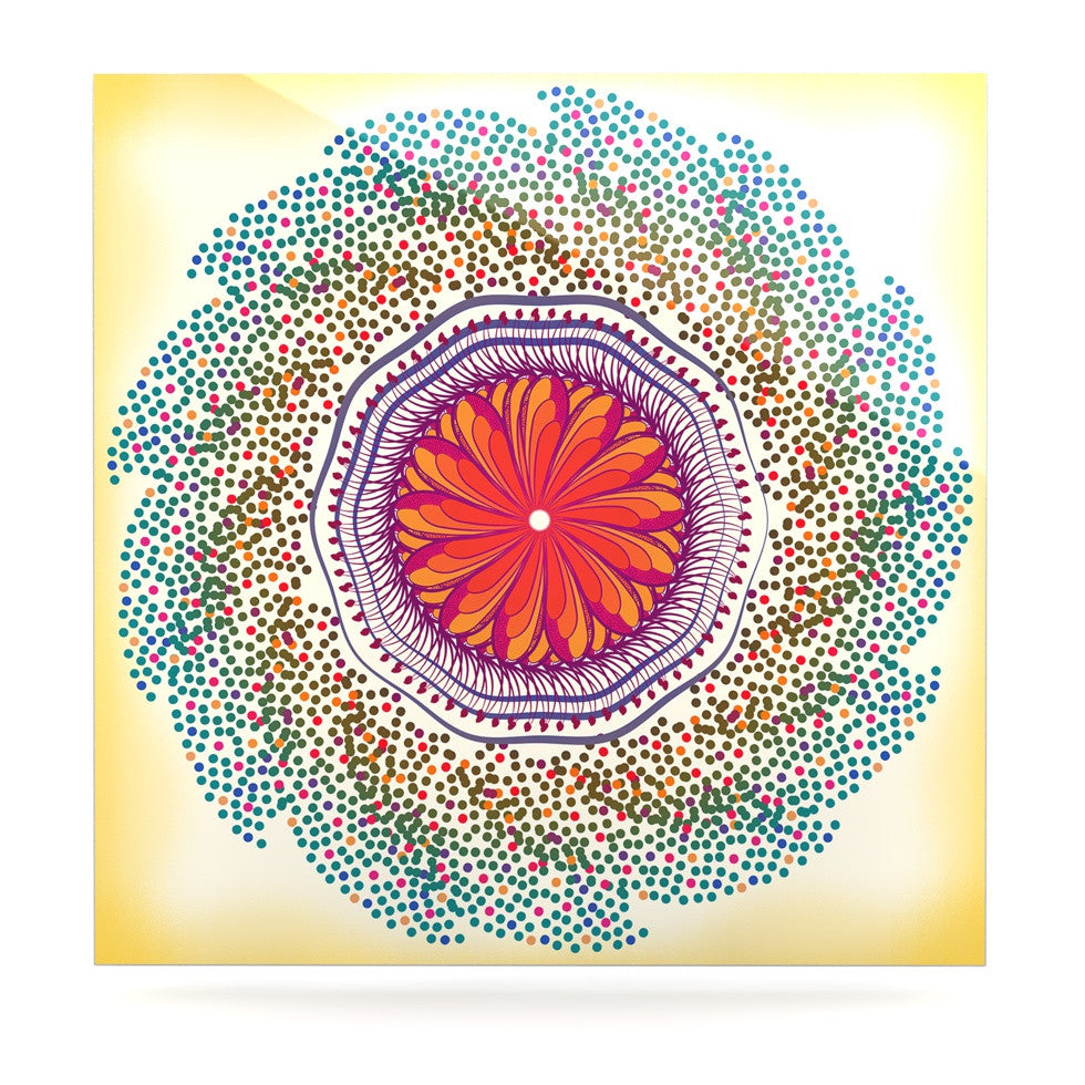 "Famenxt ""Confetti Dots Mandala"" Multicolor Abstract Luxe Square Panel - KESS InHouse  - 1"
