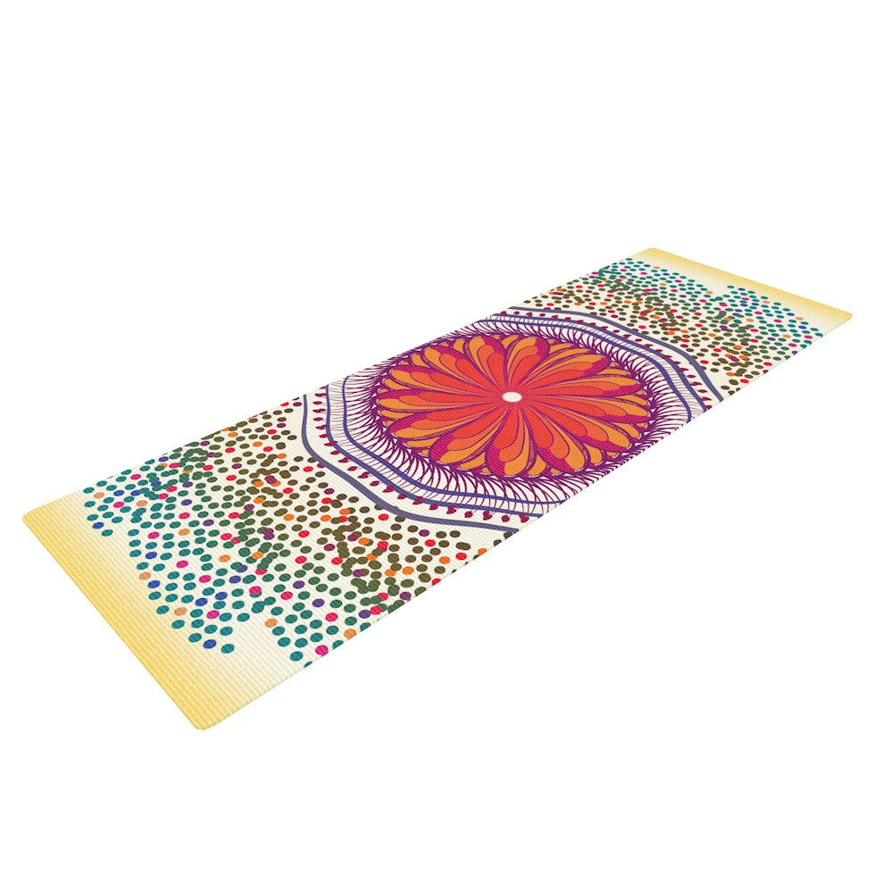 "Famenxt ""Confetti Dots Mandala"" Multicolor Abstract Yoga Mat - KESS InHouse  - 1"