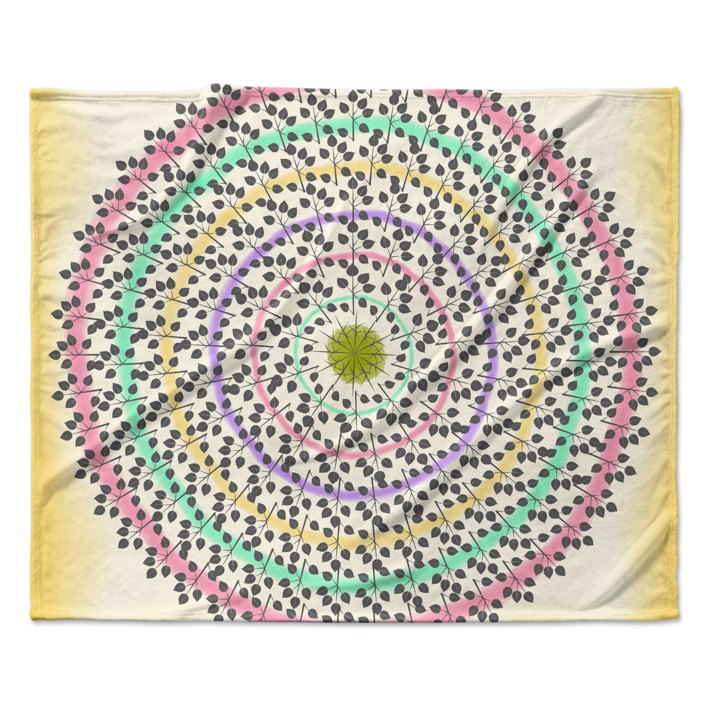 "Famenxt ""Leafy Watercolor Mandala"" Pastels Abstract Fleece Throw Blanket"