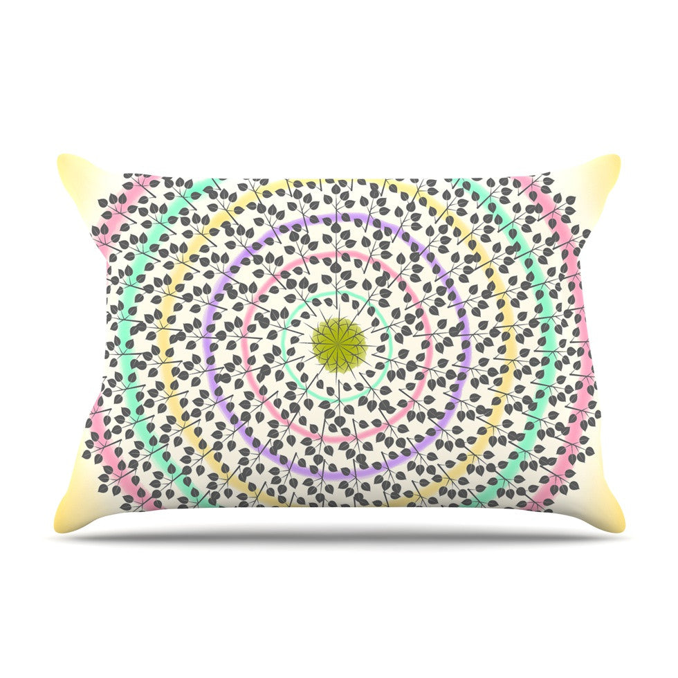 "Famenxt ""Leafy Watercolor Mandala"" Pastels Abstract Pillow Sham - KESS InHouse"