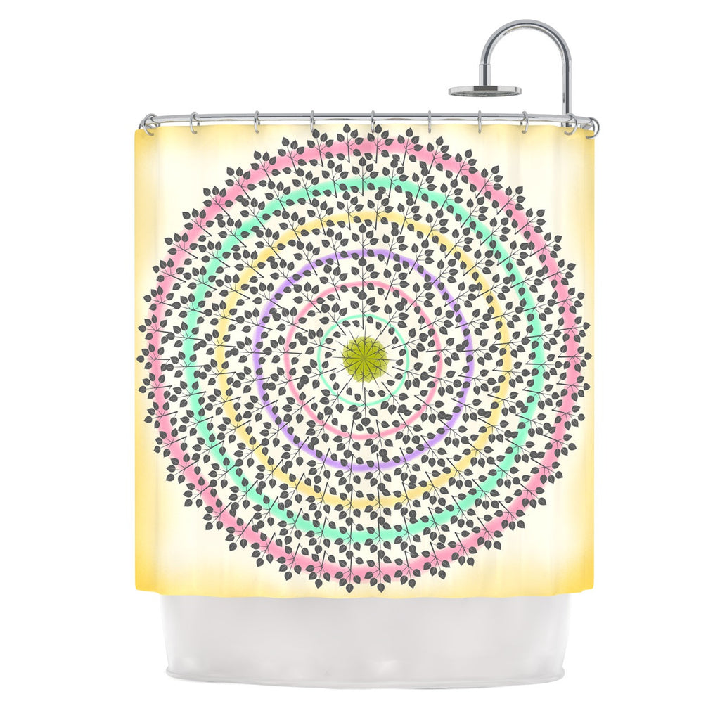 "Famenxt ""Leafy Watercolor Mandala"" Pastels Abstract Shower Curtain - KESS InHouse"