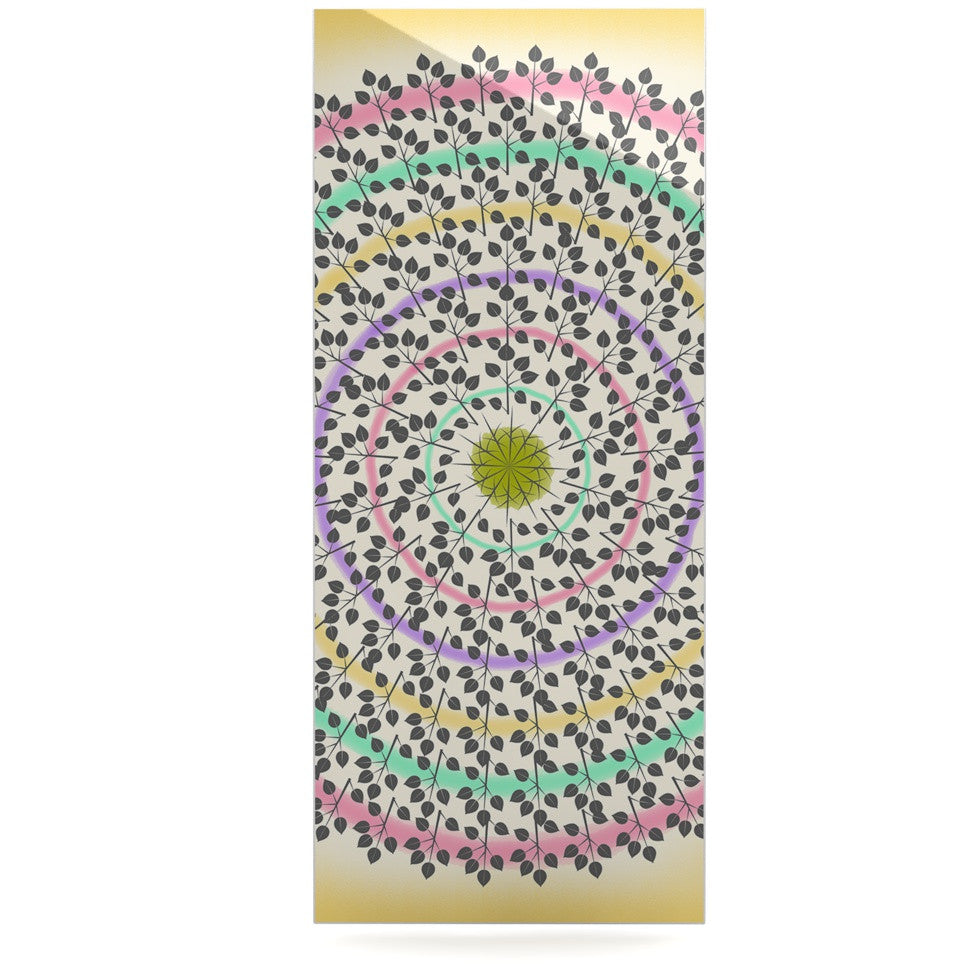 "Famenxt ""Leafy Watercolor Mandala"" Pastels Abstract Luxe Rectangle Panel - KESS InHouse  - 1"