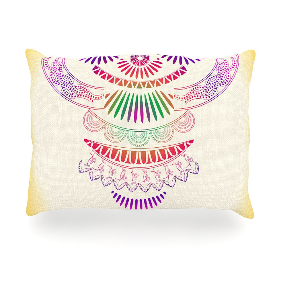 "Famenxt ""Decorative Ornament"" Yellow Multicolor Oblong Pillow - KESS InHouse"