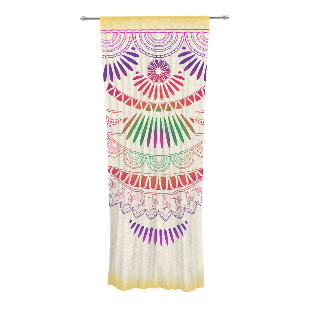 "Famenxt ""Decorative Ornament"" Yellow Multicolor Decorative Sheer Curtain - KESS InHouse  - 1"
