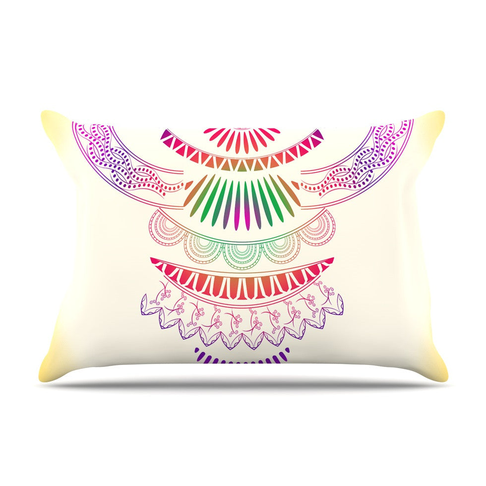 "Famenxt ""Decorative Ornament"" Yellow Multicolor Pillow Sham - KESS InHouse"