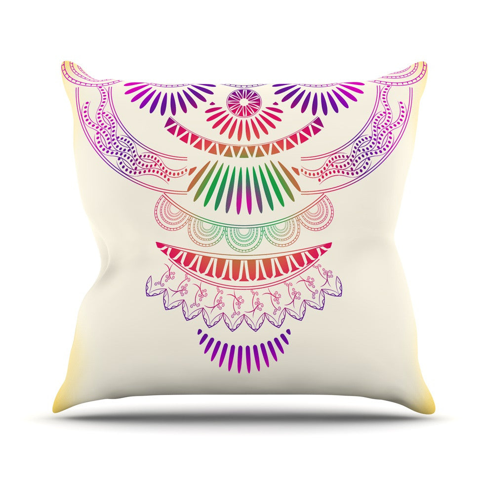"Famenxt ""Decorative Ornament"" Yellow Multicolor Outdoor Throw Pillow - KESS InHouse  - 1"