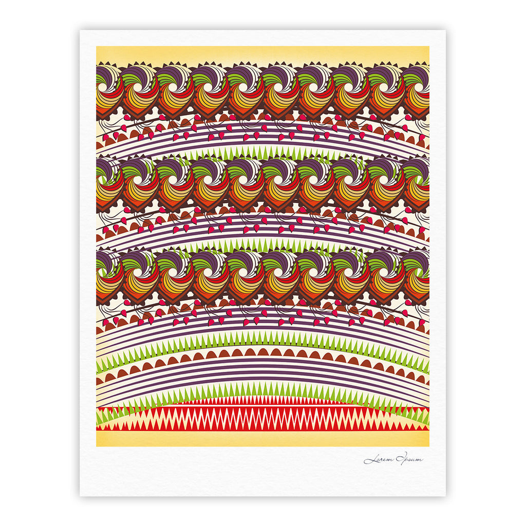 "Famenxt ""Colorful Traditional Pattern"" Multicolor Digital Fine Art Gallery Print - KESS InHouse"