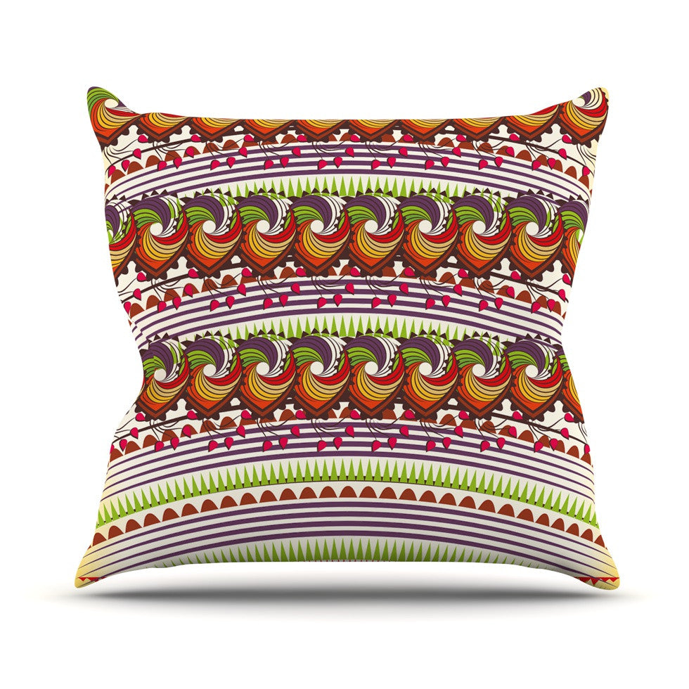 "Famenxt ""Colorful Traditional Pattern"" Multicolor Digital Outdoor Throw Pillow - KESS InHouse  - 1"