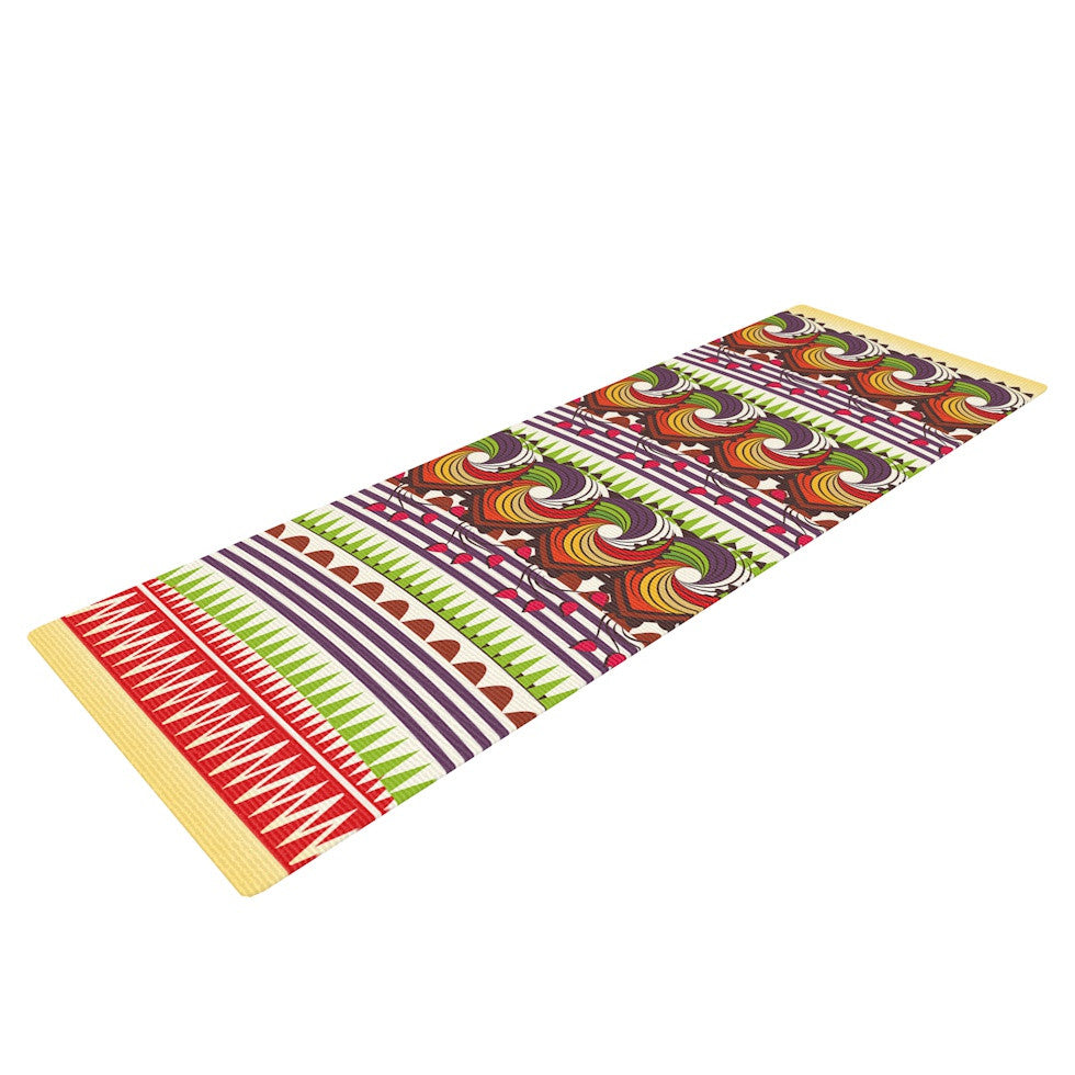 "Famenxt ""Colorful Traditional Pattern"" Multicolor Digital Yoga Mat - KESS InHouse  - 1"