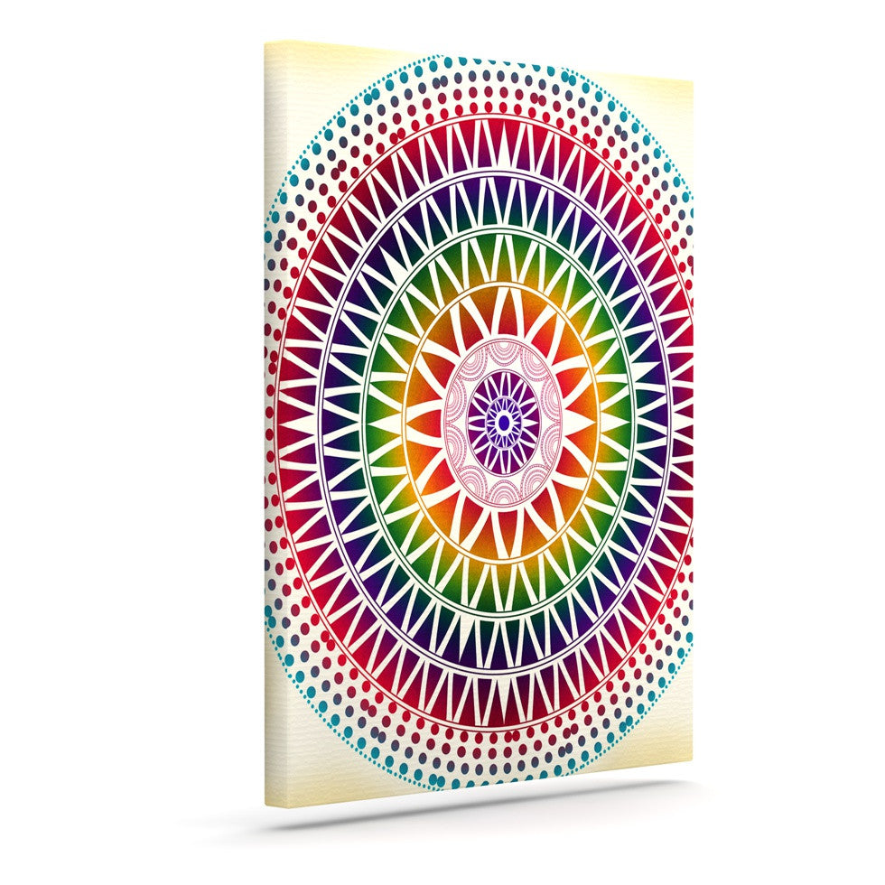 "Famenxt ""Colorful Vibrant Mandala"" Rainbow Geometric Canvas Art - KESS InHouse  - 1"