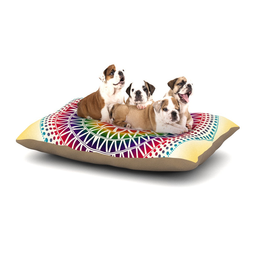 "Famenxt ""Colorful Vibrant Mandala"" Rainbow Geometric Dog Bed - KESS InHouse  - 1"