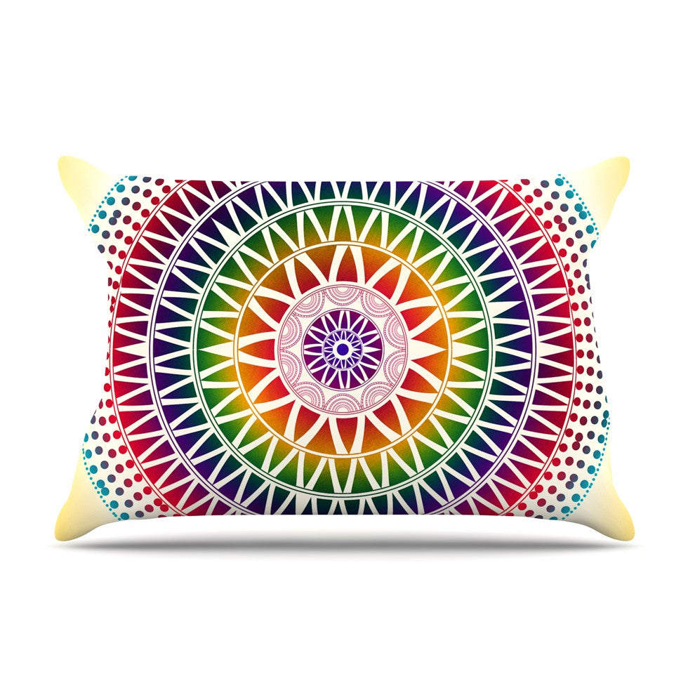 "Famenxt ""Colorful Vibrant Mandala"" Rainbow Geometric Pillow Sham - KESS InHouse"