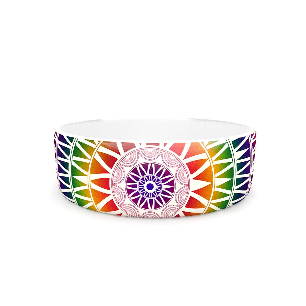 "Famenxt ""Colorful Vibrant Mandala"" Rainbow Geometric Pet Bowl - KESS InHouse"