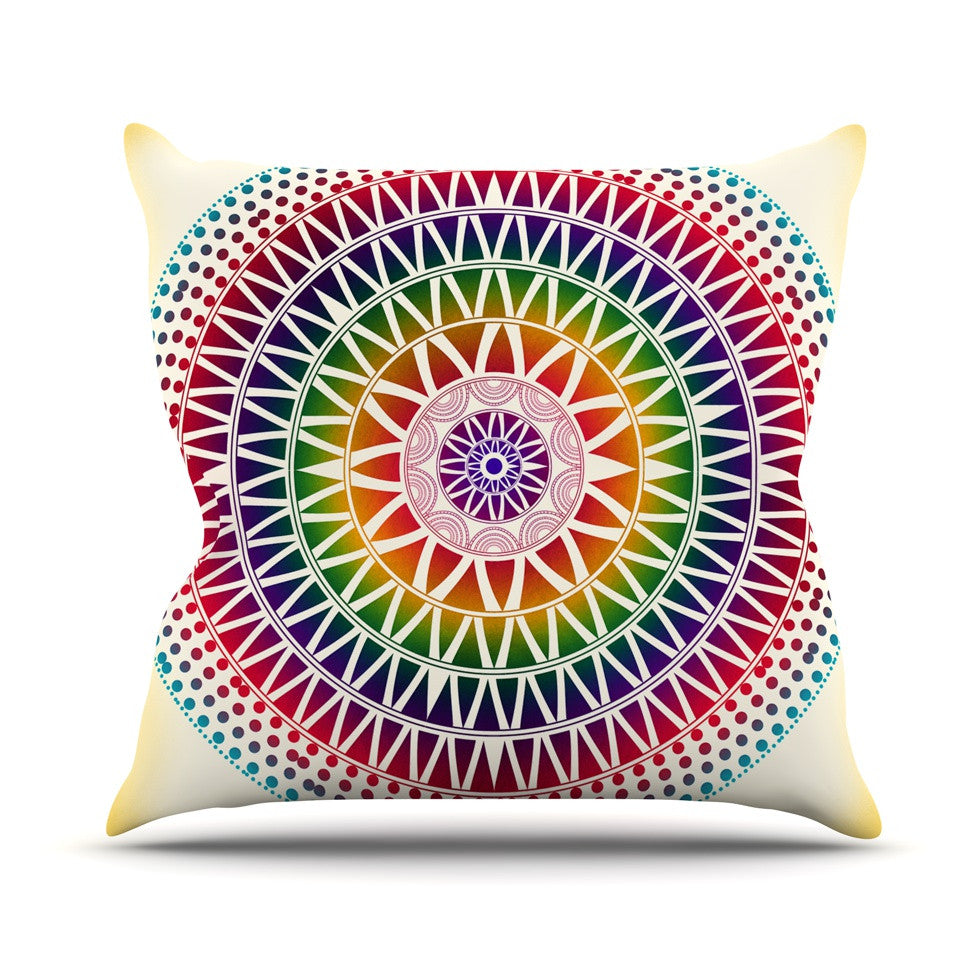 Colorful Vibrant Mandala Outdoor Throw Pillow By Famenxt Kess