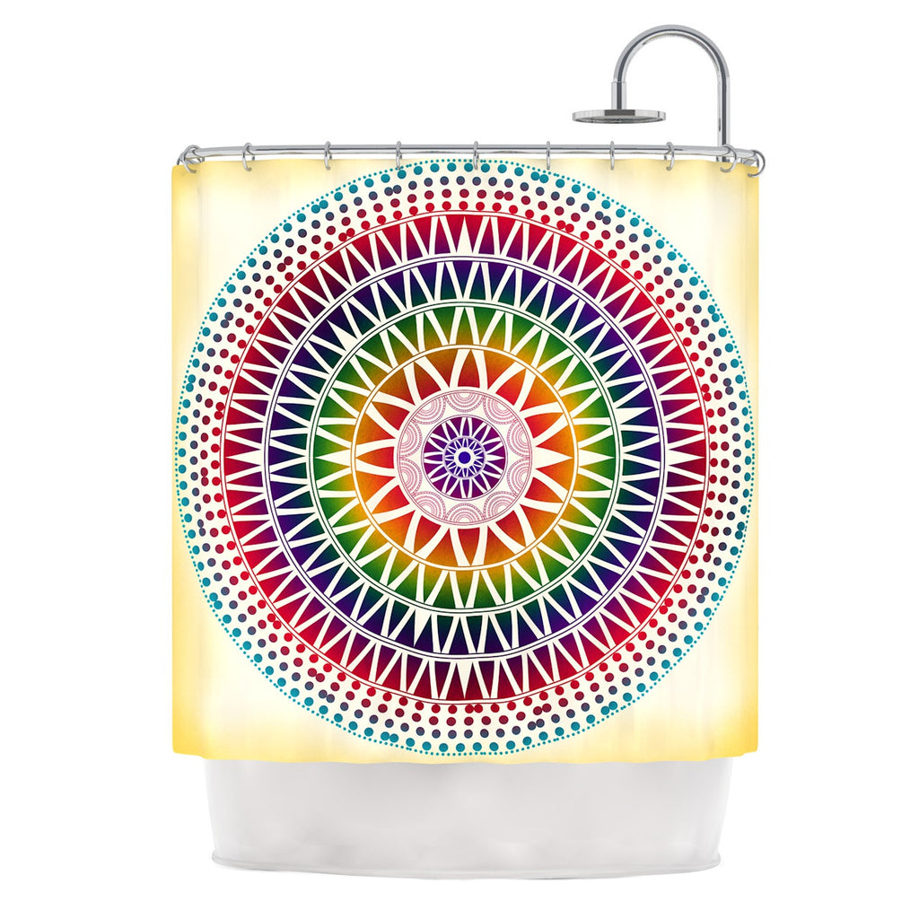"Famenxt ""Colorful Vibrant Mandala"" Rainbow Geometric Shower Curtain - KESS InHouse"