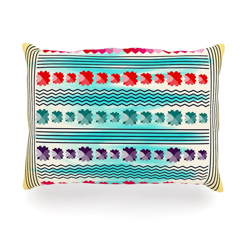 "Famenxt ""Love Pattern"" Teal Yellow Oblong Pillow - KESS InHouse"