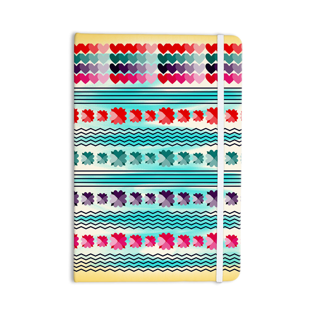 "Famenxt ""Love Pattern"" Teal Yellow Everything Notebook - KESS InHouse  - 1"