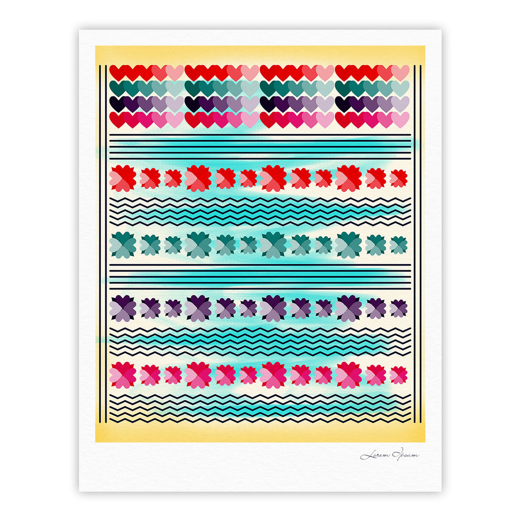 "Famenxt ""Love Pattern"" Teal Yellow Fine Art Gallery Print - KESS InHouse"