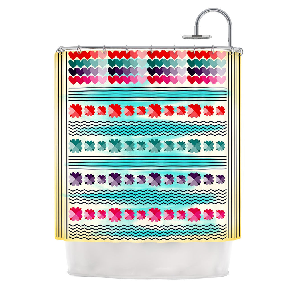 "Famenxt ""Love Pattern"" Teal Yellow Shower Curtain - KESS InHouse"