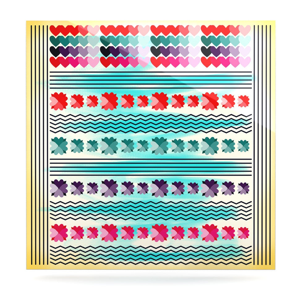 "Famenxt ""Love Pattern"" Teal Yellow Luxe Square Panel - KESS InHouse  - 1"