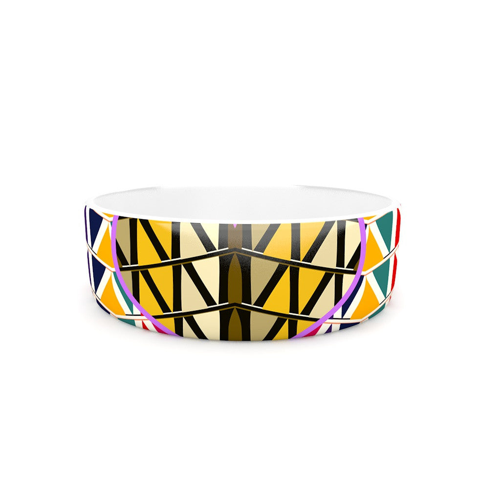 "Famenxt ""Heart in Abstract Pattern"" Geometric Abstract Pet Bowl - KESS InHouse"