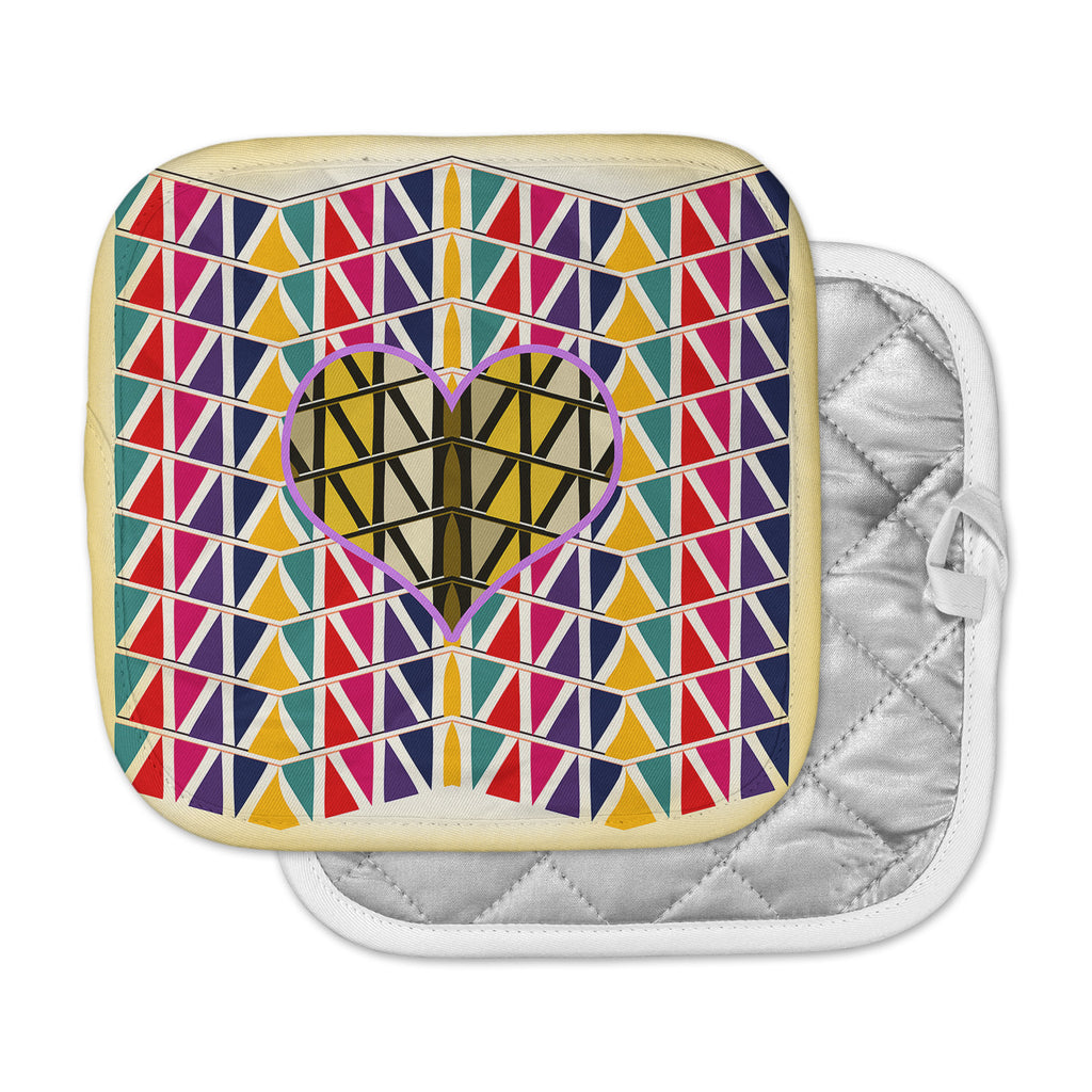 "Famenxt ""Heart in Abstract Pattern"" Geometric Abstract Pot Holder"
