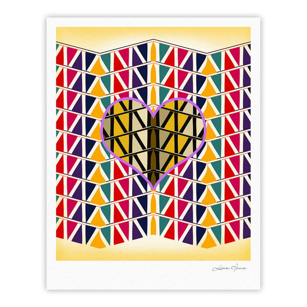 "Famenxt ""Heart in Abstract Pattern"" Geometric Abstract Fine Art Gallery Print - KESS InHouse"
